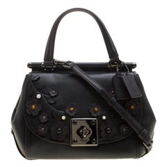 Coach Black Leather Flower Applique Grace Bag