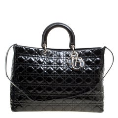 Dior Black Patent Leather Extra Large Lady Dior Top Handle Bag