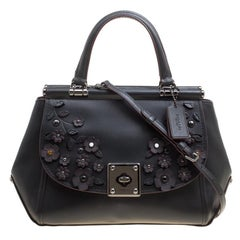 Coach Black Leather Willow Floral Applique Drifter Top Handle Bag