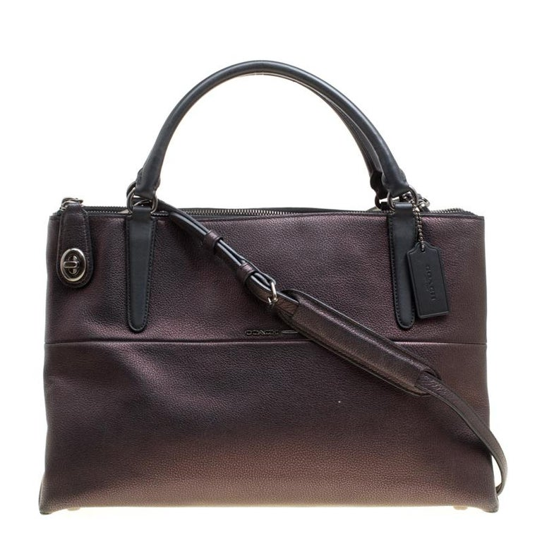 Coach Metallic Black Leather Borough Top Handle Bag For