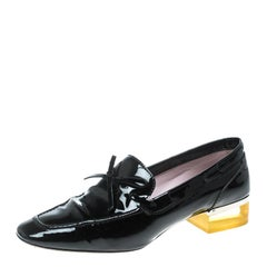 Dior Black Patent Leather Swing Lucite Heel Bow Loafer Pumps Size 37.5