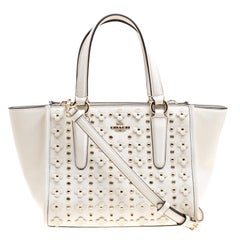 Coach Off White Leather Eyelet Floral Details Top Handle Bag