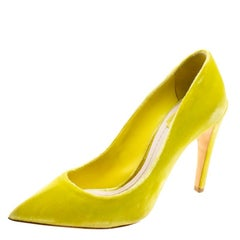 Dior Florescent Yellow Velvet Pointed Toe Pumps Size 37.5