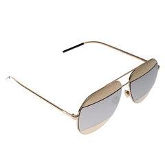 Dior Gold/Silver Mirrored 000DC Split 1 Aviator Sunglasses