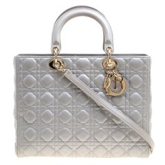 Dior Grey Leather Large Lady Dior Top Handle Bag