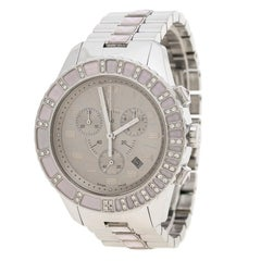 Dior Grey Stainless Steel Diamond Studded Pink Sapphire Stainless Steel Christal