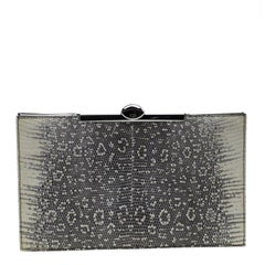 Dior Grey/Off White Lizard Frame Clutch
