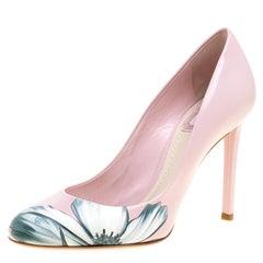 Dior Blush Pink Leather Floral Print Pumps Size 37