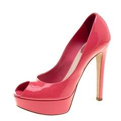 Dior Corail Patent Leather Miss Dior Peep Toe Platform Pumps Size 35.5