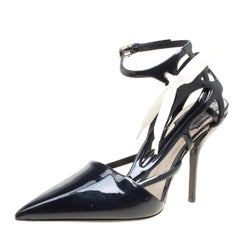 Dior Dark Blue Patent Leather Cut Out Detail Ankle Strap Sandals Size 38