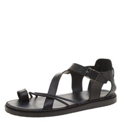 Dior Homme Black Leather Toe Ring Cross Strap Sandals Size 43.5