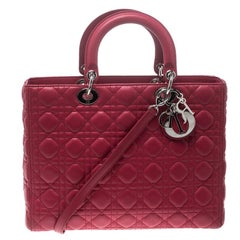 Dior Hot Pink Leather Large Lady Dior Tote