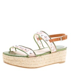 Dior Multicolor Leather and PVC Joy Espadrilles Platform Sandals Size 38