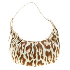 Dior Multicolor Leopard Printed Canvas and Leather Hobo