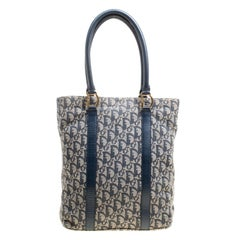 Dior Navy Blue Diorissmo Canvas and Leather Trotter Tote