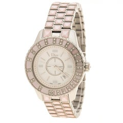 Dior Pink Mother of Pearl Diamond Studded Stainless Steel Christal Women's Wrist
