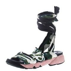 Dior Printed Satin Brooklyn Wrap Around Sandals Size 38