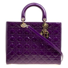 Dior Purple Patent Leather Large Lady Dior Tote