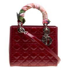 Dior Red Leather Medium Lady Dior Tote