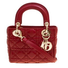 Dior Red Leather Mini Lady Dior Top Handle Bag
