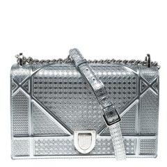 Dior Silver Patent Leather Medium Diorama Flap Shoulder Bag