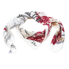 Dior White and Red Model Collection Printed Silk Square Scarf