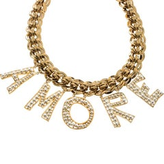 Dolce & Gabbana Amore Faux Pearl Gold Tone Necklace