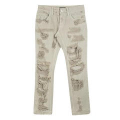 Dolce and Gabbana 14 Gold Beige Distressed Ripped Jeans S