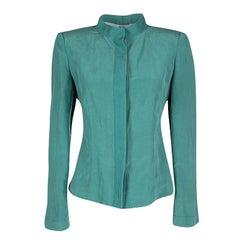 Armani Collezioni Blue Silk Linen Blazer and Pencil Skirt Set M