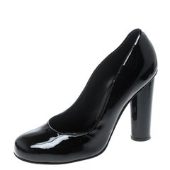 Dolce and Gabbana Black Patent Leather Block Heel Pumps Size 39