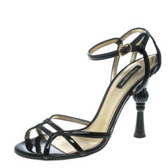 Dolce and Gabbana Black Patent Leather Strappy Sandals Size 37