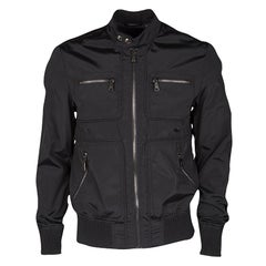 Dolce and Gabbana Black Zip Front Bomber Jacket M