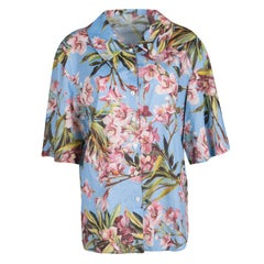 Dolce and Gabbana Blue Floral Printed Cotton Short Sleeve Button Front Shirt M
