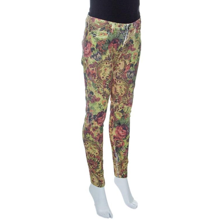 Dolce And Gabbana Floral Printed Corduroy Skinny Pretty Pants S For