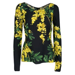 Dolce and Gabbana Black and Yellow Floral Acacia Print Long Sleeve Top M
