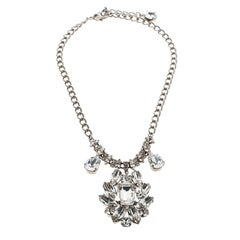 Dolce and Gabbana Flower Crystal Silver Tone Necklace