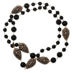 Dolce and Gabbana Black Bead Brown Motif Long Necklace