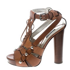 Dolce and Gabbana Brown Leather Stud Detail Ankle Strap Platform Sandals Size 38