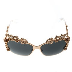 Dolce and Gabbana Gold/Black DG2121 Baroque Butterfly Sunglasses