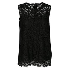 Dolce and Gabbana Black Floral Lace Sleeveless Top M