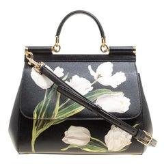Dolce and Gabbana Black Multicolor Tulip Print Leather Medium Miss Sicily Top Ha