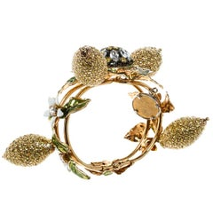 Dolce and Gabbana Crystal Studded Lemon Gold Tone Floral Bracelet