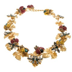 Dolce and Gabbana Ladybug Leaf Enamel Crystal Embellished Gold Tone Necklace