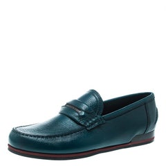 Dolce and Gabbana Emerald Green Leather Genova Loafers Size 41