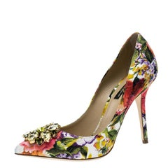 Dolce and Gabbana Multicolor Floral Print Fabric Crystal Embellished Pumps Size