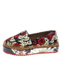 Dolce and Gabbana Multicolor Floral Print Fabric Platform Espadrilles Size 38