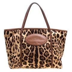 Dolce and Gabbana Leopard Print Fabric Animalier Shopper Tote