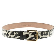Dolce and Gabbana Leopard Print Patent Leather Belt 75 CM