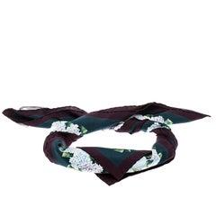 Dolce and Gabbana Multicolor Hydrangea Print Silk Square Scarf