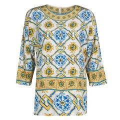 Dolce and Gabbana Majolica Print Dolman Sleeve Silk Top S